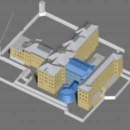 Modell mit Neubau für den Lern- und Gedenkort Kaßberg-Gefängnis in Chemnitz von Ruairí O'Brien.