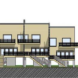 Skizze Haus Priesnitz von Ruairí O'Brien. Frontansicht von 2 Gebäuden.