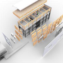 Aufbau eines Asylbewerberwohnheims für eine serielle und modulare Bauweise.