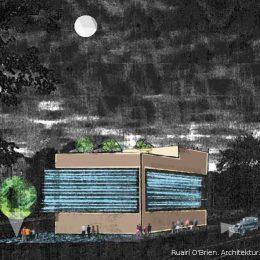 Entwurf eines dresdner Restaurants der Spitzengastronomie bei Nacht von Ruairí O'Brien.