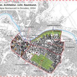 Standortanalyse für ein Restaurant in Dresden by Ruairí O'Brien. Ausschnitt des Dresdner Stadtplans mit Kennzeichnung wichtiger Sehenswürdigkeiten und anderer Anhaltspunkte.