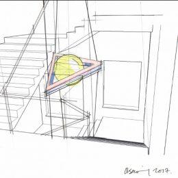 Skizze für ein Lichtkonzept im Treppenhaus des St. Joseph-Stift, farbliches Mittelelement
