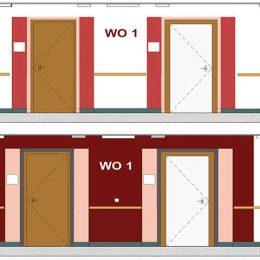 Farbkonzept für die Flure des Städtischen Klinikums Dresdem. 2 Farbvarianten mit Rottönen.