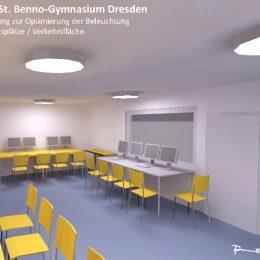 Lichtplanungs-Skizze des St. Benno Gymnasiums in gelb und grau, mit Leuchten, Tischen, Stühlen und Computern