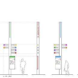 Skizze von den Pfeilern für das Orientierungssystem für das Krankenhaus St. Joseph-Stift