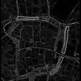 Stadtplan Leipzig in schwarz-weiß
