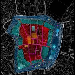 Lichtmasterplan für ein Winterlichtkonzept für die Leipziger Innenstadt, Stadtplan mit Kennzeichnung des Lichtkonzepts
