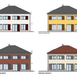 Farbkonzept Haus Reick, 4 Farbvarianten der Außenwand