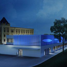 Ein Modell vom Zentrum für Innovative Technologien in blauer Beleuchtung.