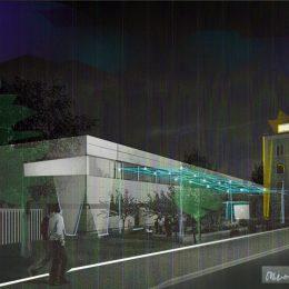 ine Skizze für die Beleuchtung des Zentrums für Innovative Technologien von außen.