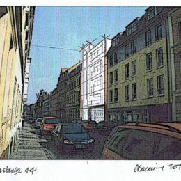 Zeichnung Blaue Fabrik von Ruairí O'Brien