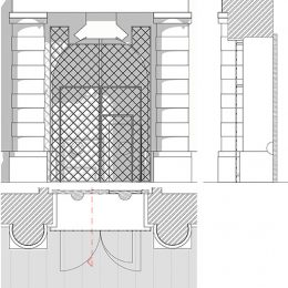 Skizze für die Neugestaltung des Eingangsportals des Dresdner Schlosses, Zeichnung schwarz weiß