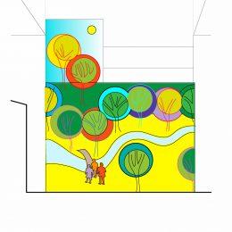 Entwurf für eine neue Fassadengestaltung des Diakonissenkrankenhauses in Dresden. Bunte Gestaltung mit Bäumen und Menschen.