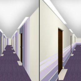 violette Flurgestaltung für das Hochhaus Pirna