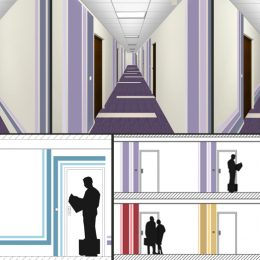 Konzeptstudie Licht und farbe für das Hochhaus Pirna, verschiedene Farbkonzepte für Flurgestaltung in violett, rot, gelb und grün