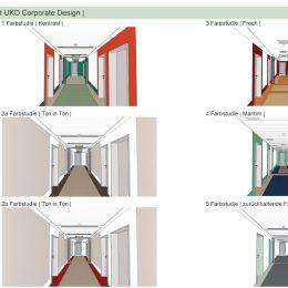 Farbgestaltung der Flure des Universitätsklinikums in 6 Ausführungen