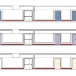 Universitätsklinikum Dresden Farbkonzept für Flurgestaltung, 3 Farbschemata