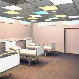 Farb- und Lichtgestltung für die Aufwachräume im Universitätsklinikum Dresden. Helles Lichtkonzept, ähnelt Sonenneinstrahlung, von Ruairí O'Brien.