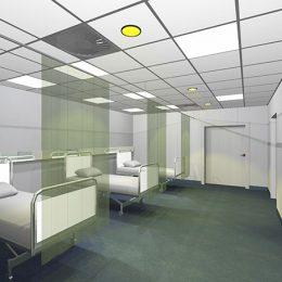 Beleuchtungskonzept in grün für die Aufwachräume im Universitätsklinikum Dresden