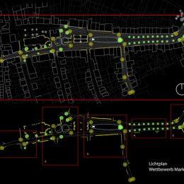 Lichtplan für einen Wettbewerb zur Beleuchtung des Marktplatzes in Hirschau by Ruairí O'Brien