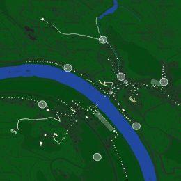 Lichtmasterplan für den Kurort Rathen von oben in grün, Lichtpunkte eingezeichnet in einen Übersichtsplan