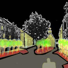 Lichtmasterplan Marktplatz Hirschau mit Einzeichnung der Beleuchtung für vorhandene Bäume by Ruairí O'Brien