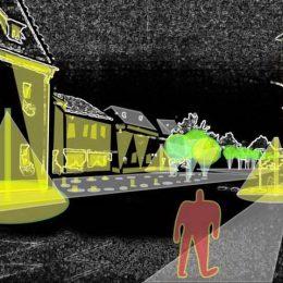 Lichtmasterplan für den Marktplatz Huirschau, dunkle Skizze mit Einzeichnung der Beleuchtungsquellen und deren Lichtkegeln