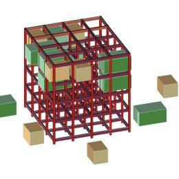 Skizze der Edubox aus rotem Gittergerüst und braunen und grünen Elementen zum herausnehmen