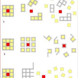Skizze zu Aufbau- und Kombinationsmöglichkeiten der Edubox, rotes Zentralelement
