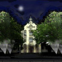 Frontalansicht auf das UKD. Skizze, die die geplante Fassadenbeleuchtung und die Beleuchtung der Bäume bei Nacht zeigt.