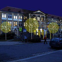 Skizze für die Beleuchtung der Fassade und des Dachses des UKD.