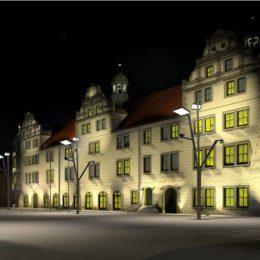 Skizze vom Rathaus Torgau, Sie zeigt das Rathaus bei Nacht mit entsprechender Fassadenbeleuchtung