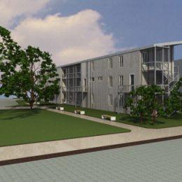 Modell eines Asylbewerberwohnheimes in Nahansicht