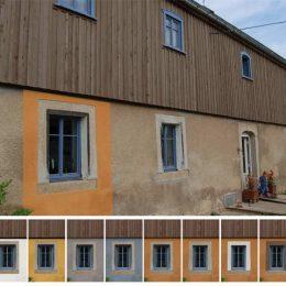 Farbkonzept für das Bauernhaus, Burka, 10 Farbkombinationen mit Wandfarbe und Fenster