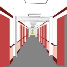 Flur im Städischen Klinikum Dresden. Farbkonzept von Ruairí O'Brien mit den Farben rot, bordeaux und grau.