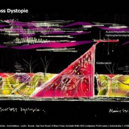 Schloss Dystopie mit Helikopterlandeplatz und Kletterwand als Idee für die Science Fiction City in Bischofswerda von Ruairí O'Brien.