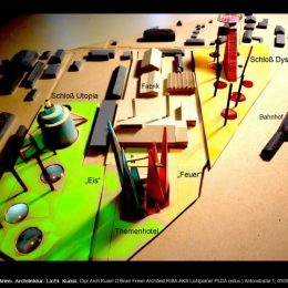 Machbarkeitsstudie für den Themenpark Science Fiction City in Bischofswerda. Modelldarstellung des Themenparks.