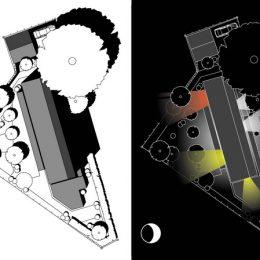 Skizze vom Haus Evolucio, links am Tag und rechts bei Nacht mit akzentuiertem Licht