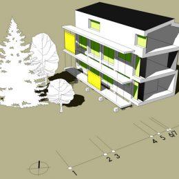Skizze vom Haus Evoluciomit Bäumen, erkennbaren Geschossen und Länge der Abschnitte