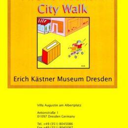 Aushang für das micromuseum City Walk in grellem Gelb