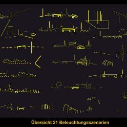 Lichtkonzept 26er Ring in Dresden, schwarz-gelbe Übersicht über 21 mögliche Beleuchtungsszenarien