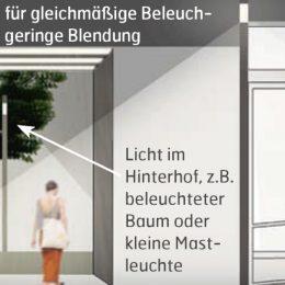 Visualisierung über die Beoeuchtung von Durchgängen in der Bahnhofstraße.