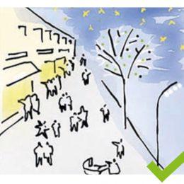 Skizze für eine vorteilhafte Beleuchtungssituation des Fußgänger-Bereichs in der Bahnhofstraße.
