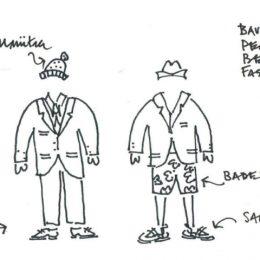 Eine Zeichnung über die Persönlichkeit eines Bauwerks im Vergleich zu einem Menschen.