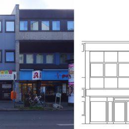 Fassadentypologie eines Gebäudes in der Bahnhofstraße in echt und als Zeichnung.