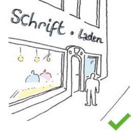 Eine Zeichnung über den positiven Einsatz von Außenwerbung in der Bahnhofstraße. Schriftzug an Geschäften.