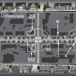 Visualisierung der gesamten Beleuchtungssituation der Bahnhofstraße Berlin-Lichtenrade. Eine lange Straße mit den einzelnen Beleuchtungsorten.