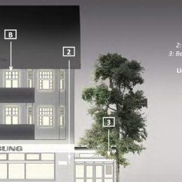 Visualisierung über selbstleuchtende oder beleuchtete Elemente an den Gebäudefassaden der Bahnhofstraße.