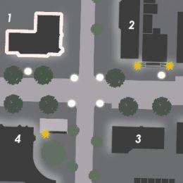 Detailansicht über Beleuchtungspunkte an einer Kreuzung in dr Bahnofstraße.
