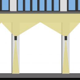 Schematische Ansicht eines Eingangs des Spinnereimaschinenbaus. Zu erkennen ist die Beleuchtungssituation am Eingang.